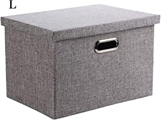 Wintao Storage Box with lid Collapsible Linen Fabric Clothing Storage Basket Bins Gray - Large