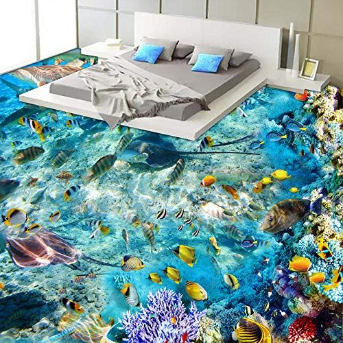 Benutzerdefinierte Boden Wandbild Tapete Meeresboden Landschaft Fisch Koralle Toilette Badezimmer Schlafzimmer 3D Bodenbild Pvc Wasserdicht Selbstklebend,250X175cm