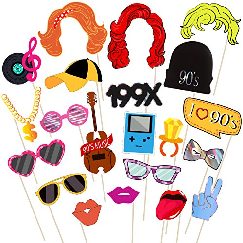 BESTOYARD 90er Jahre Party Photo Booth Requisiten Kit - 90er Jahre Throwback Party Dekoration Kreative 1990 Foto Requisiten 21PCS