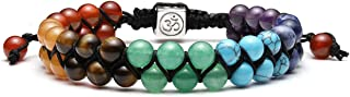 Bead Chakra Bracelet - 6mm 8mm Healing Crystal Bracelet Natural Lava Rock Stone Bracelets Men Stress Relief Yoga Beads Essential Oil Diffuser Bracelets 7 Chakras Anxiety Bracelet for Women