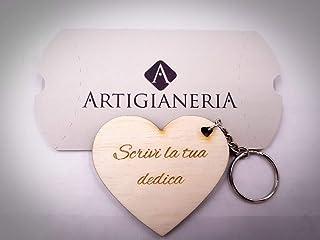 ArtigianeriA - Portachiavi in legno da uomo o da donna a forma di cuore realizzato a laser, personalizzato con testo, nome...