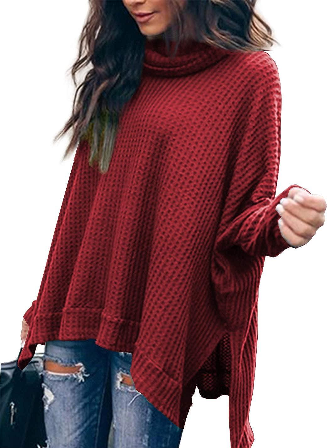 Albe Rita Women Casual Turtlenck Batwing Sleeve High Low Hem Side Slit Waffle Knit Loose Oversized Sweater Tunic Tops
