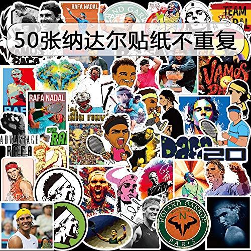YCYY 50 Pegatinas de Graffiti de la Estrella del Tenis Rafael Nadal Pegatinas de Maleta Son Impermeables