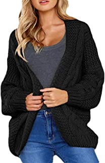 Women Long Sleeve Cable Thermal Sweaters Open Front Cardigan