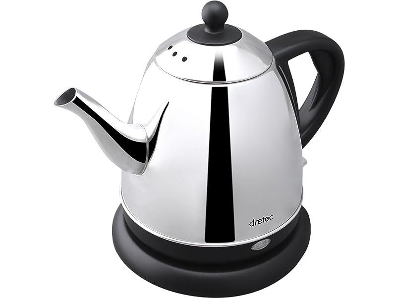 ずるいビジター困惑したdretec(ドリテック) 電気ケトル ステンレス コーヒー ドリップ ポット 細口 湯沸かし 0.8L ブラック PO-115BKDI