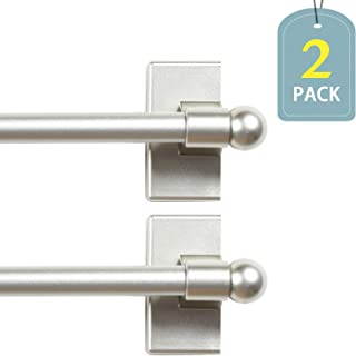 H.VERSAILTEX 1/2 Inch Diameter Multi-Use Adjustable Petite Ball Sidelight Magnetic Rods, 9 to 16 Inch, Nickel, 2-Pack