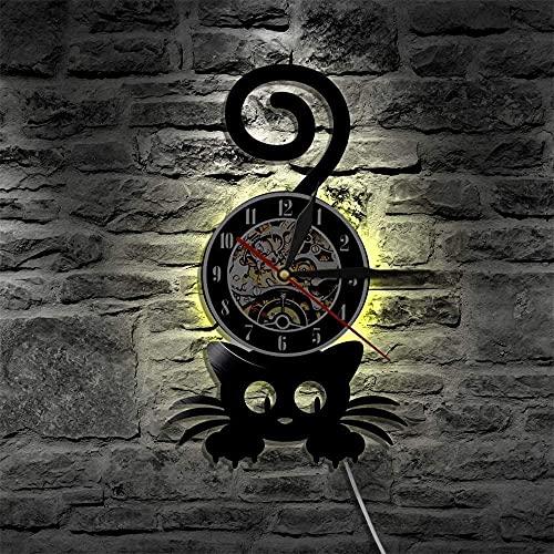 Reloj de pared de vinilo con luz LED de 7 colores, diseño de gato loco y señora de la pared, silueta de gatito con cola divertida decoración del hogar, gatito negro, gato amante de las mascotas