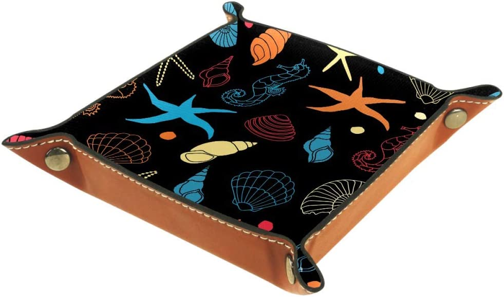 DFSDFG Seahorse and Starfish PU Nippon regular agency Leather Foldable Popular brand in the world Rolling Dice Tr