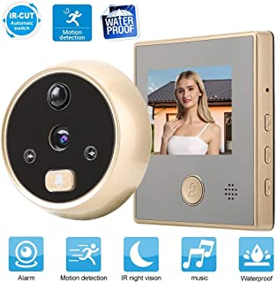 ASHATA Digital Door Spy, 2.8 Inch HD TFT LCD Display Video Camera with 135 Degree Wide Angle,Infrared Night Vision Viewer Security Camera Smart Video Doorbell with Motion Detection System