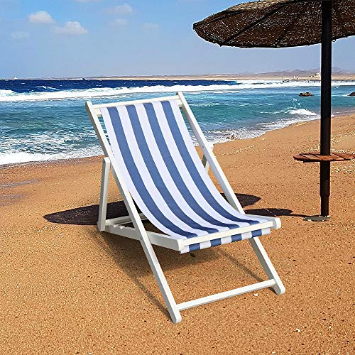 Wood Sling Chair, Outdoor Folding Adjustable Beach Patio Chair with Canvas, Ergonomic Wooden Deck Chair Back Rest Chair for Living Room Balcony Courtyard Garden (Narrow Blue)