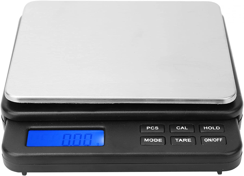 Mini báscula de cocina digital Báscula de pesaje eléctrica estándar de alta precisión con pantalla retroiluminada azul 1000g / 0.01g para interiores para el hogar(black)