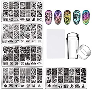 TIMESETL Nail Art Stamping Templates Manicure Tool Kit, 5pcs Nail Stamping Plates + 1 Stamper + 1 Scraper, Flower Animal Lace Pattern Nail Art Stamping Supplies