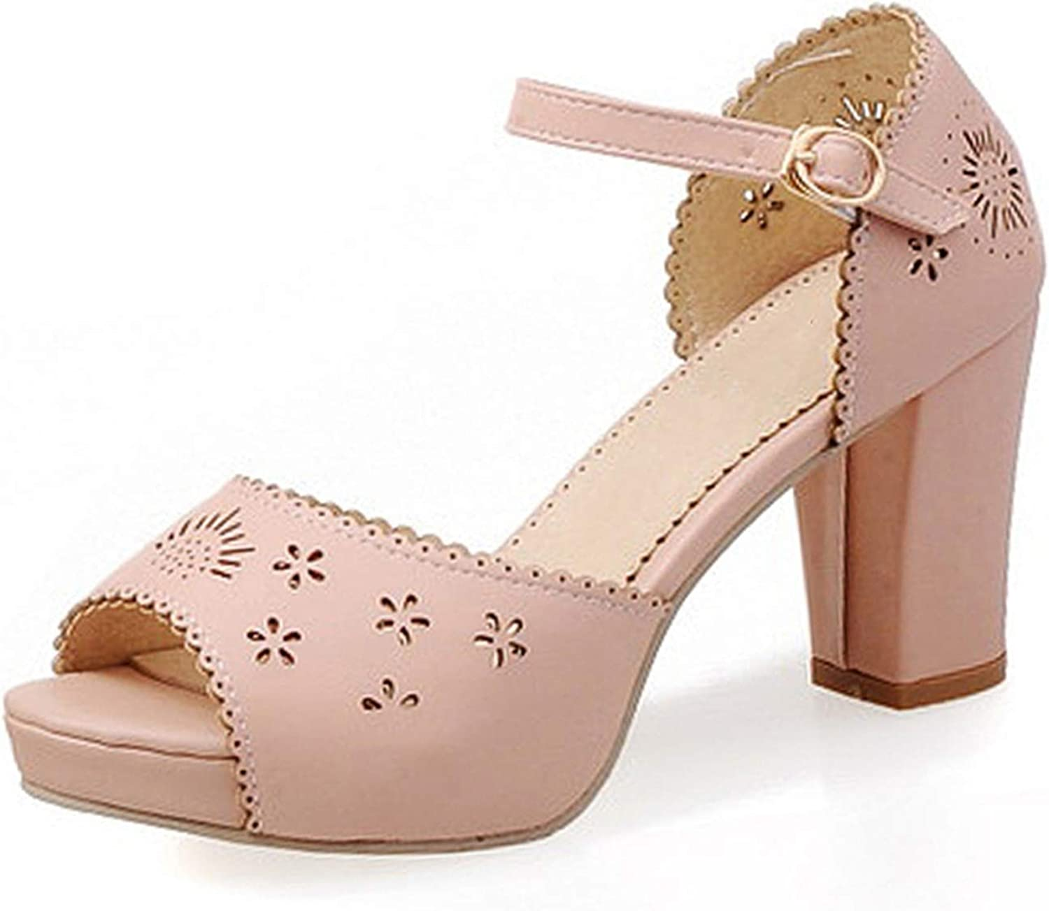April With You Size 31-43 Office Lady High Heel Sandals Ankle Strap Peep Toe Thick Heels Sandals