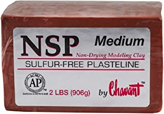 Chavant NSP MEDIUM - 2 Lbs. Professional Oil Based Sulfur Free Sculpting Clay- Brown