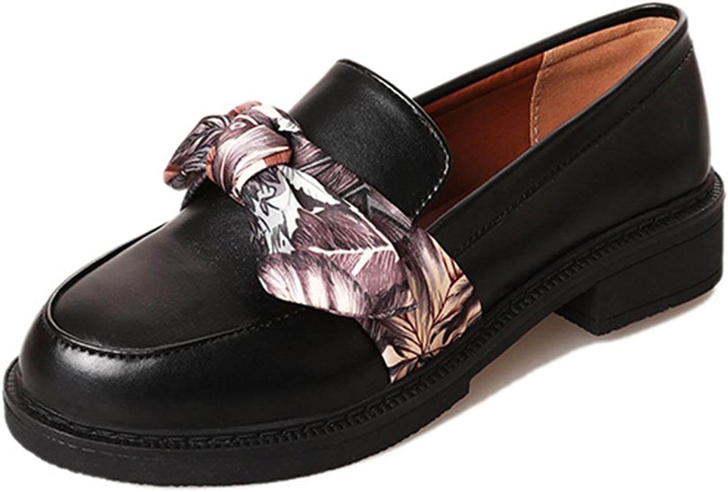 Btrada Women's Fashion Bowknot Ribbon Slip On Penny Loafers Round Toe Moccasins Driving shoes Flat shoes