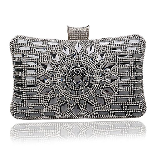 Bolso de mano RUIIO, de lujo, para mujer, de diamantes, negro, 20*12*6cm