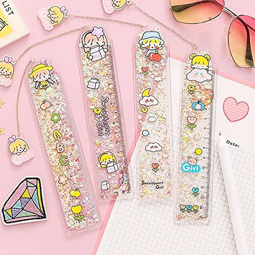 xiangwang Bonita regla de 15 cm, para niños, para regalo, artículos de papelería (color: 1 pieza al azar)