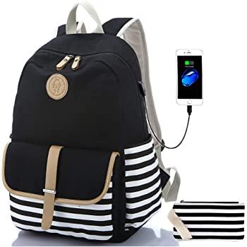 "Sqodok School Backpack Canvas Bookbag 15.6"" Laptop Backpack with USB Charger Port Travel Daypack"