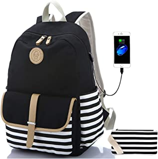Sqodok Teens School backpack Stripe Bookbag Fashion Shoulder Daypack Canvas Backpack Causal Travel Rucksack School Bookbags Unisex Laptop Backpack