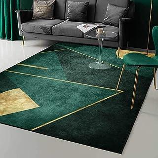 Tapijt, smaragd donkergroen eenvoudig gouden geometrie tapijt, voor slaapkamer nachtkastje woonkamer keuken vloermat tapij...