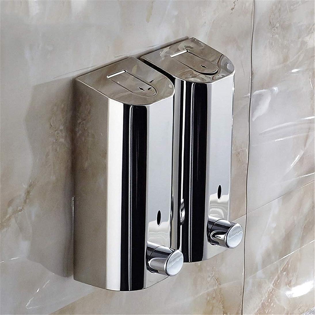 火曜日スキッパー強要自動石鹸ディスペンサー Hand Sanitizer Hotel Soap Liquid Bottle壁に取り付けられたシャワージェルボックスは、屋内ビジネスや公共スペースにシームレスに溶け込み、強化できます 泡石鹸ディスペンサー (色 : 銀, サイズ : 2 heads)