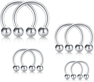 8pcs 16G 316L Surgical Steel Mix Size Non-Piercing Fake Nose Septum Horseshoe Earring Eyebrow Tongue Lip Nipple Helix Tragus Piercing Ring 6mm 8mm 10mm 12mm