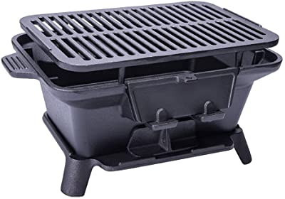 grill-burners Barbecue Grill Charcoal Portable BBQ Portable Barbecues Household Charcoal Wild Cast Iron Grill Thicken Outdoor Oyster Portable Small Mini Home Indoor, Black, 40x27x18cm
