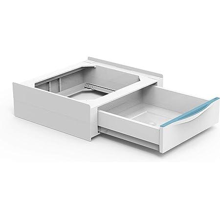 Meliconi Base Torre Extra Kit de superposition pour machine à laver/sèche-linge avec tiroir amovible et sangle de sécurité avec boucle en métal incluse Fabriqué en Italie Blanc