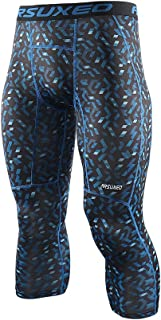 ARSUXEO Men's 3/4 Running Compression Trousers Base Layers Capri Pants K75