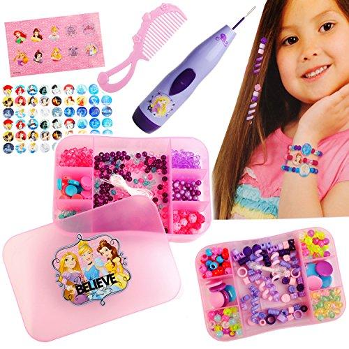 alles-meine.de GmbH XXL Bastelset - Schmuck Perlen Set & Zopfflechter -  Disney Princess - Prinzessin  - Kinderschmuck - Armbänder Ketten - Perle & Haarschmuck Flechter - Perle..