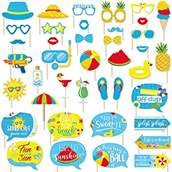 Pool Party Photo Booth Props Kit for Swimming Party Decorations Beach Party Selfie Props Summer Theme Birthday Party Supplies