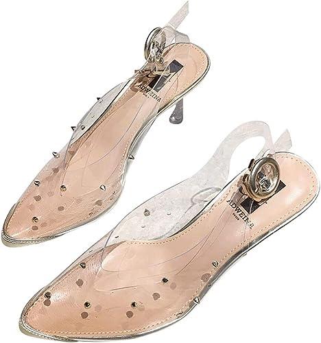 Encre Chaussures Nouvelle Mode pour Femmes avec des Sandales à Talons Fines et Un été Sauvage a souligné Les Rivets Transparents Sexy à Talons Hauts Femmes Pompes (Couleur   Clear, Taille   34)