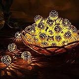 La Secuencia Solar Luces al Aire Libre, la Bola de Metal a Prueba de Agua, Jardín Luces Leds Marruecos Bola de luz Decorativos para el árbol, Patio, Interior/Exterior,5m 20 Lights