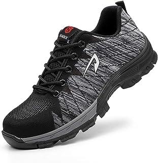 JACKSHIBO Steel Toe Work Shoes for Men Women Safety Shoes Breathable Industrial Construction Shoes Black Size: 7.5 Women/6...