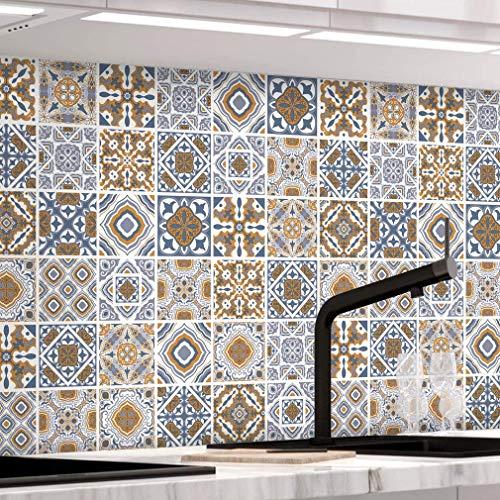 KINLO Fliesenfolie Selbstklebende Fliesenaufkleber für Badzimmer und Küche, Klebefliesen PVC 61 x 500cm Mosaik Wandfliesen Deko-Fliesenfolie Dekorfolie Fliesendekor Deko-Fliesen-Folie Typ-F