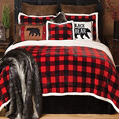 Black Forest Decor Buffalo Plaid Plush Bed Set - Queen