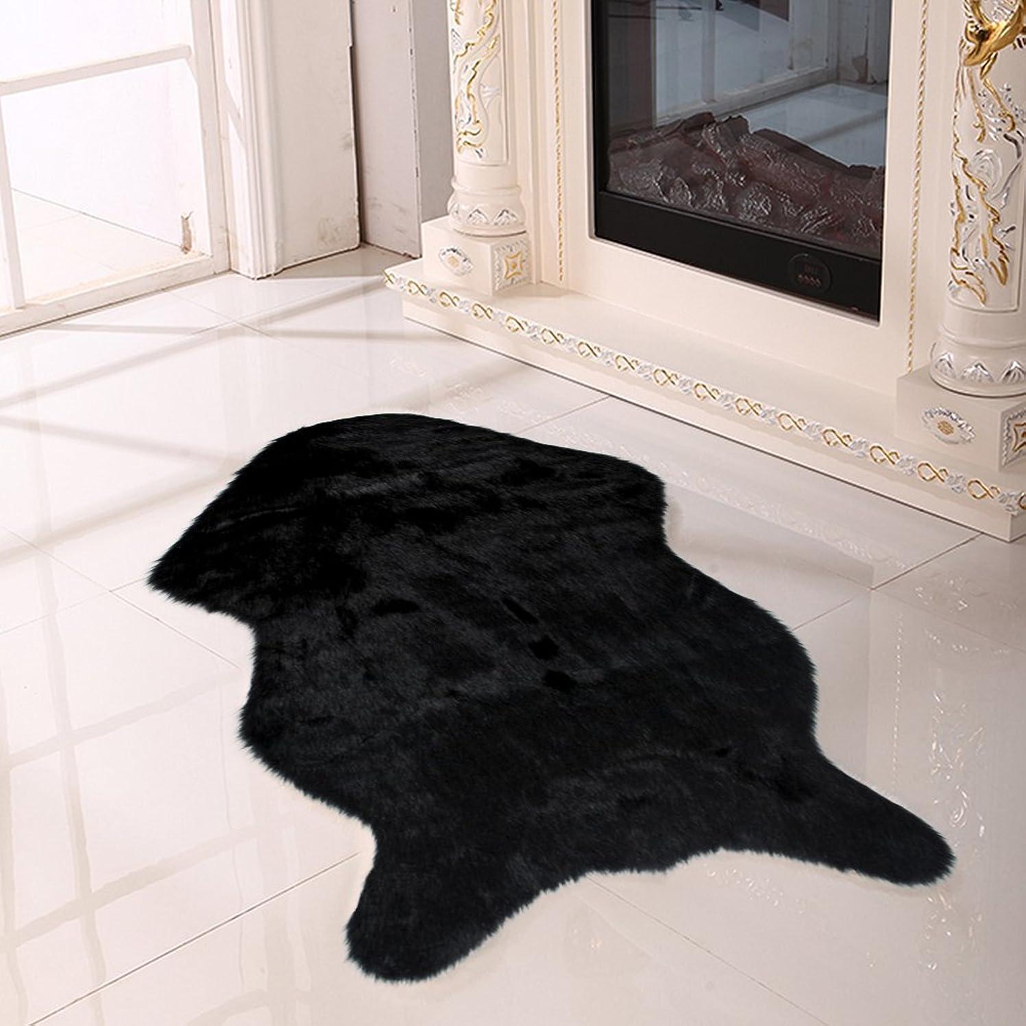 反響する体均等にyazi-羊毛ムートンフリース ウールラグ フェイクシープスキンラグ ふんわり柔らかい 大判ラグマット シートマット ブラック