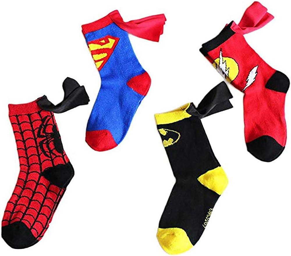 RoiRu 3-5 Years Old Kids Crazy Socks - Cartoon Marvel DC Superman Spider man Batman The Flash Design Children Cotton Comic Funny Socks Unisex Toddler Boys Girls (Superhero Set 4 pairs)