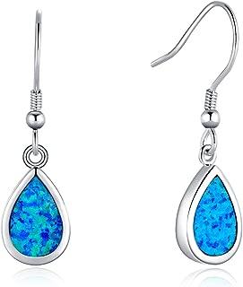 Christmas Gift Sterling Silver Opal Teardrop Oval Heart Dangle Earrings Blue/White Dainty Drop Fine Jewelry for Women Girls