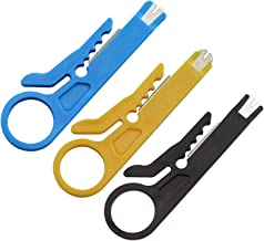 RuiLing 3PCS Small Wire Stripper Portable Crimping Tool Blue/Yellow/Black UTP STP Network Cable Cutter Keystone Jack RJ45 Ethernet Module Impact Punch Down Tool