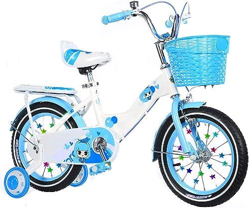 YUMEIGE Vélos Enfants Bicyclettes pour Enfants Vélos pour Enfants 12 14   16 18 Pouces Garçons et Filles à vélo, Convient aux Enfants de 2 à 9 Ans Bleu Jaune Rose (Couleur   bleu, Taille   18in)