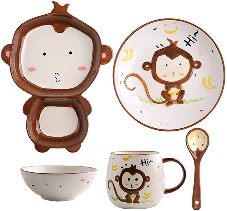 Ensemble de couverts pour enfants de dessin animé mignon singe bol en céramique assiette de salade créative petite tasse de cuillère (Couleur   6911101900)