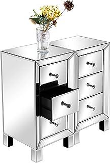 Table de Chevet Lot de 2 Table de Chevet Miroir en Verre avec 3 Tiroirs Meuble de Rangement Commode Chambre Chevet de Lit ...