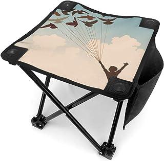 アウトドア 椅子 飛ぶ鳥の群れ アウトドア 椅子 ピクニック 釣り コンパクト イス 持ち運び キャンプ用軽量 収納バッグ付き 折りたたみチェア レジャー 背もたれなし