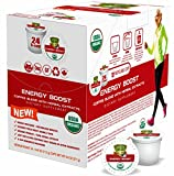SOLLO Energy Boost Infused Coffee Brew Single Serve Pods With Superfoods Compatible With 2.0 K-Cup Keurig Brewers, 2X Organic Natural Caffeine, Intense Energy Focus, Guarana, Acai, Goji Extract, 24 Capsules
