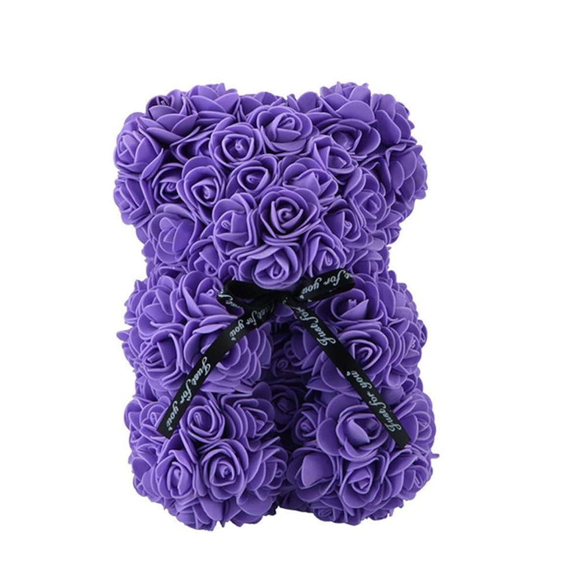 すき可動式正義シャボンフラワー テディベア リボンローズ ソープフラワー テディベア形の花 ローズベア 贈り物 プレゼント 石鹸の香り(25CM) (パープル, 箱がありません)