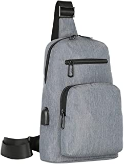 Men's Fashion Chest Bag, Casual Shoulder Bag, USB Charging Sports Slung Small Backpack,Gray