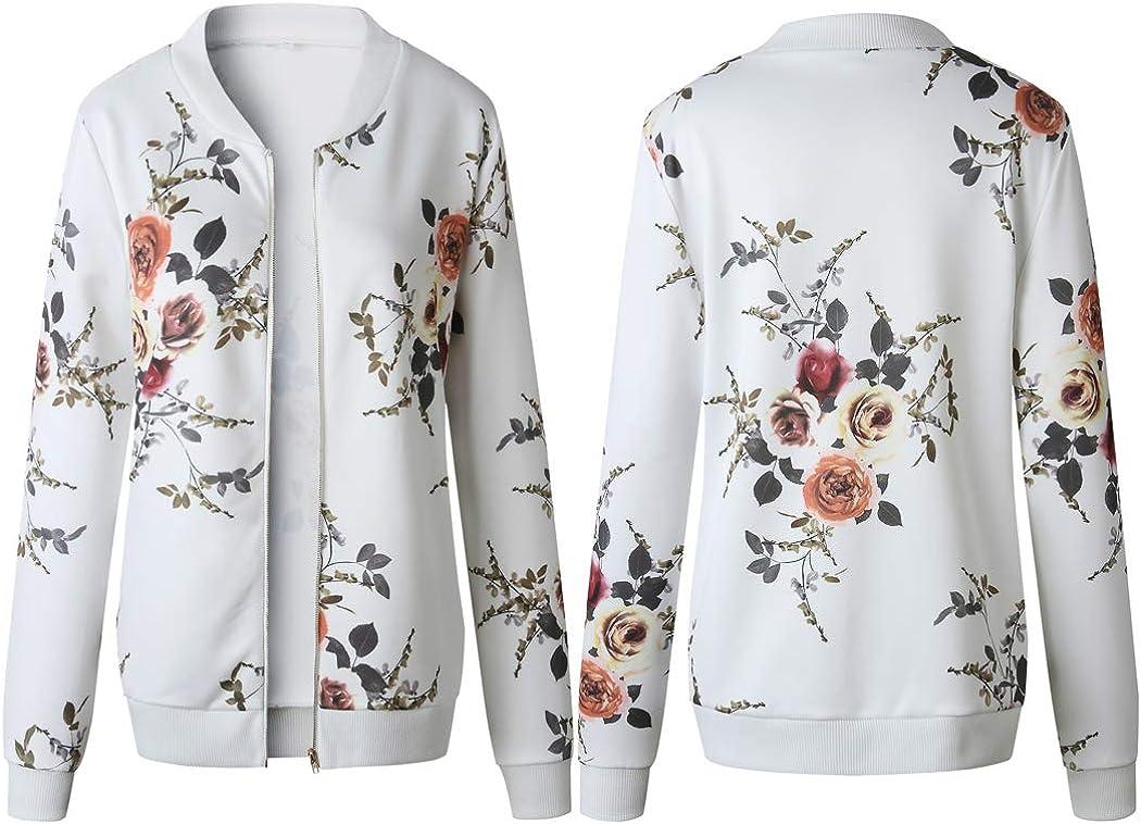 ECOWISH Damen Casual Jacke Blumenmuster Langarm Bomberjacke Reißverschluss Stehkragen Outwear Kurz Coat Herbst Frühling Weiß