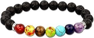 Men Women 8mm Lava Rock 7 Chakras Aromatherapy Essential Oil Diffuser Bracelet Braided Rope Natural Stone Yoga Beads Brace...