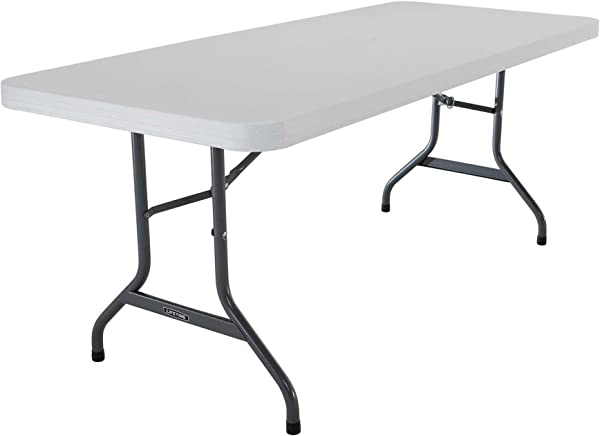Lifetime 22901 Folding Utility Table 6 Feet White Granite